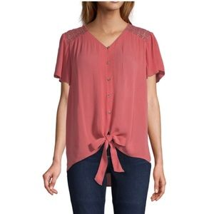 NWT St. John's Bay V-Neck S/S Embellished Blouse